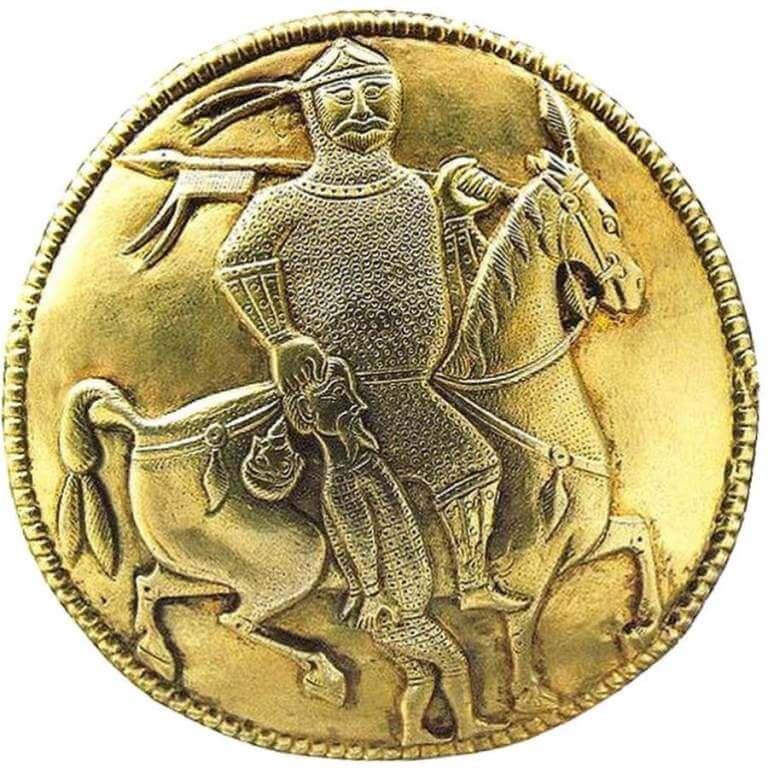 Древнее изображение хазарского кагана с пленником (фрагмент кувшина)