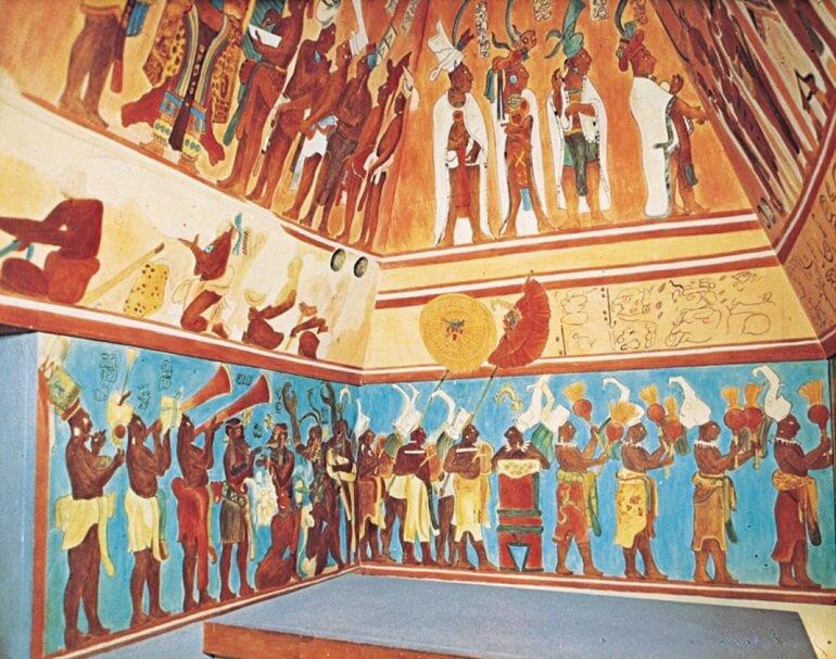 Фрески из Бонампака открывают нам быт древнего народа майя