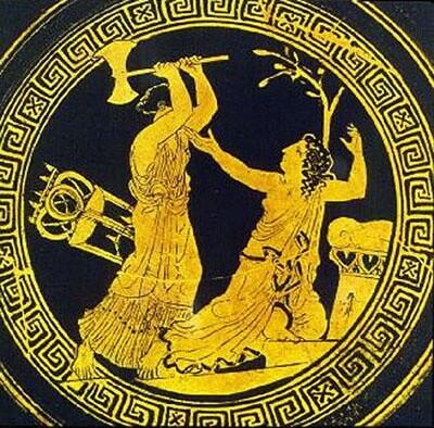 Кассандра и Клитемнестра. Изображение на кубке (430 год до н. э.)