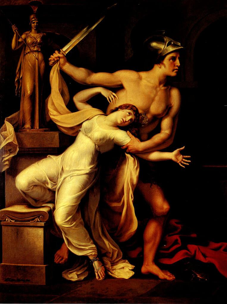 Кассандра пытается спастись у алтаря Афины