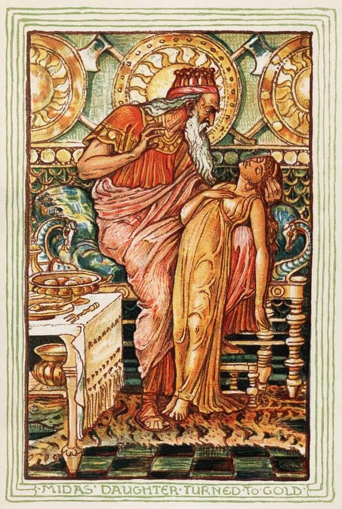 Мидас обращает дочь в золото