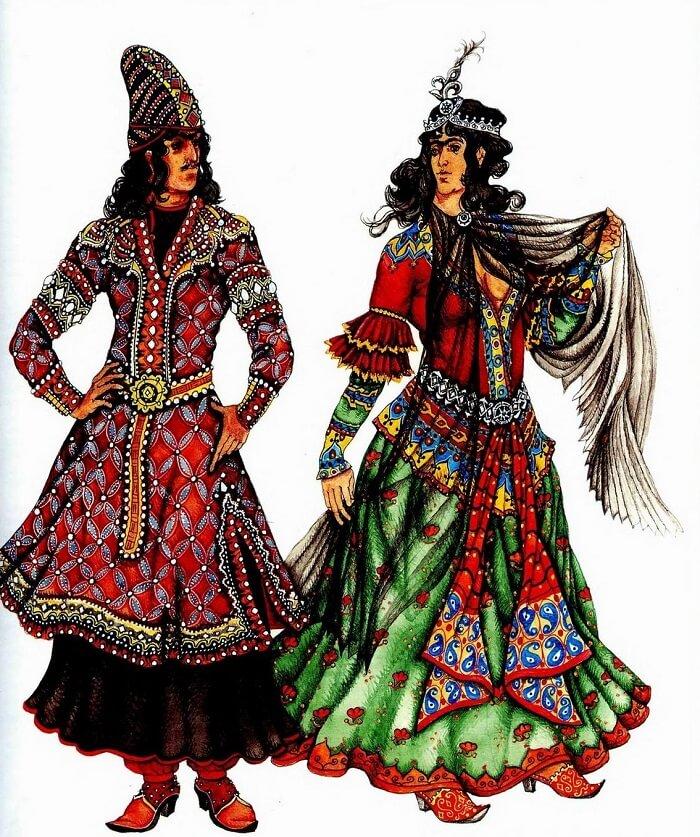 Традиционная древнеперсидская одежда мужчин и женщин
