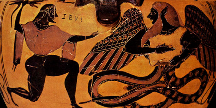 Древнее изображение битвы Зевса и Тифона