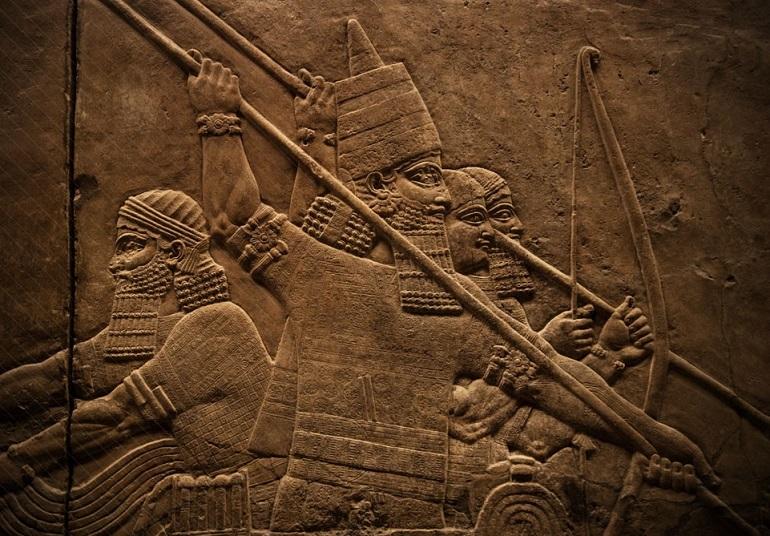 Древнее изображение шумерских воинов