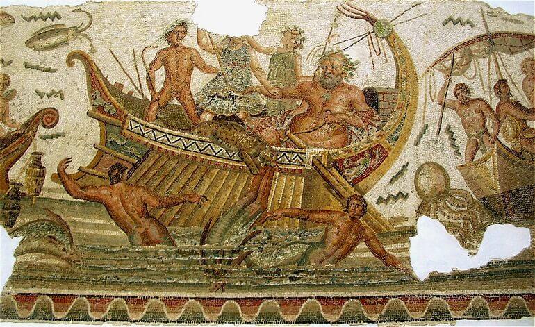Старинная фреска с изображением мифа о Дионисе и пиратах