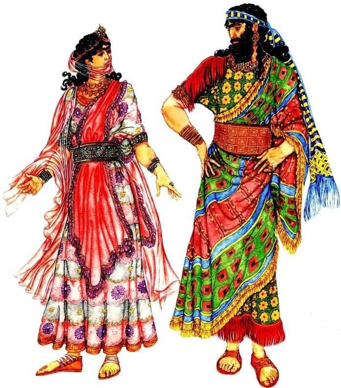 Женский и мужской костюмы знатных ассирийцев.