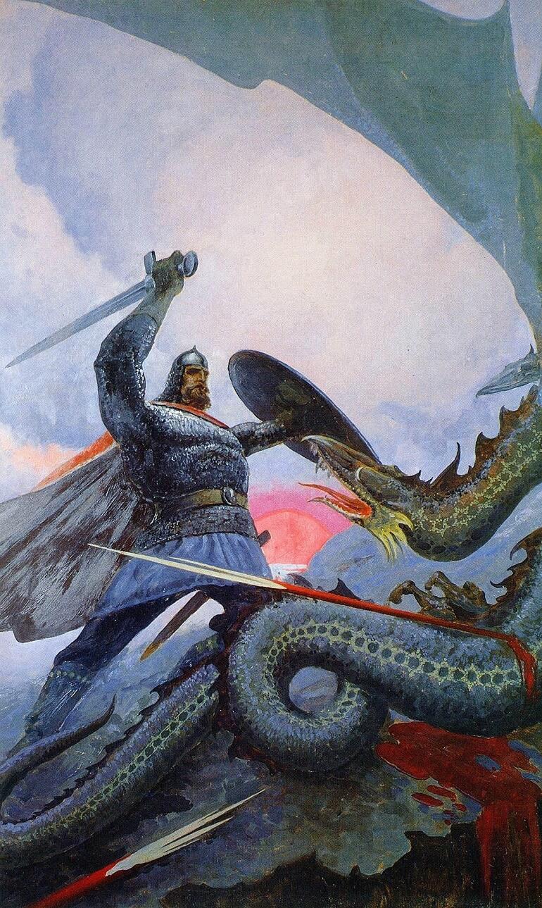 Чтобы перейти мост, нужно было сразиться со Змеем, охранявшим его