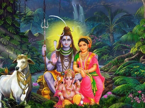 Шива,Парвати и их сын - бог-слон Ганеша