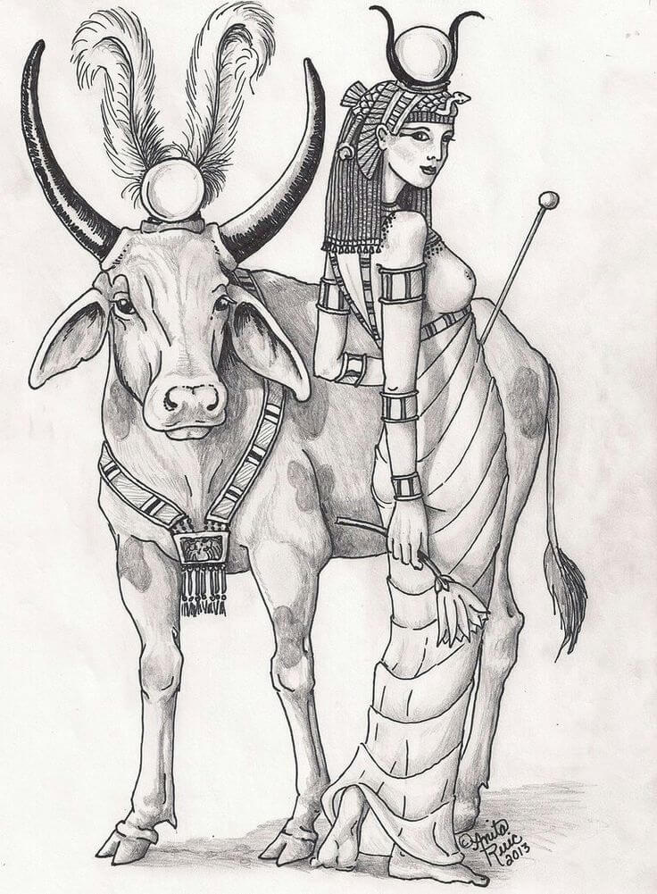 Священным животных Хатхор была корова