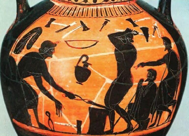 Кузница Гефеста на древнем сосуде