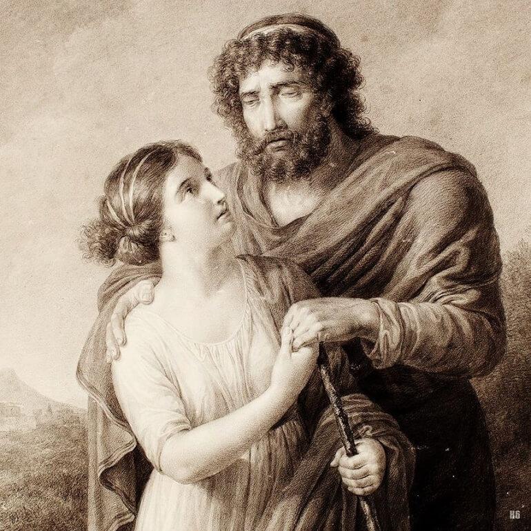 Фридрих Рехберг. Слепой Эдип и его дочь Антигона