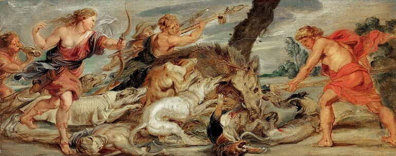 Питер Пауль Рубенс. Аталанта и Мелеагр охотятся на Калидонского вепря