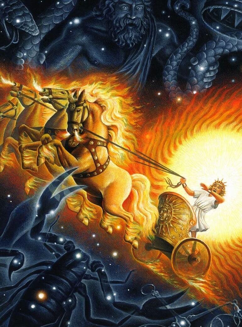 Фаэтон в колеснице своего отца, Гелиоса
