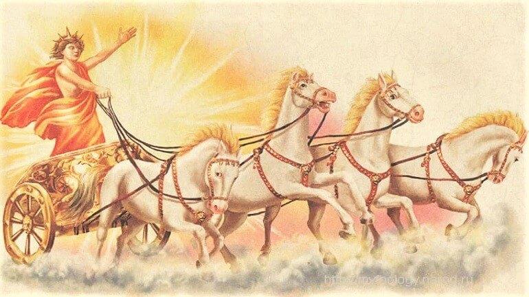 Каждый день Гелиос выезжает на своей колеснице в небо