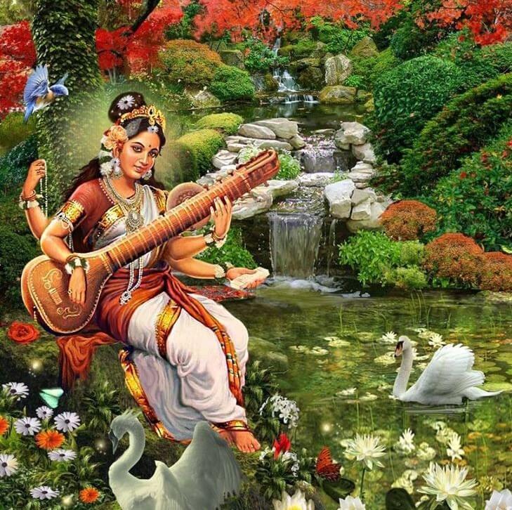 Богиня Сарасвати рядом со своими священными птицами