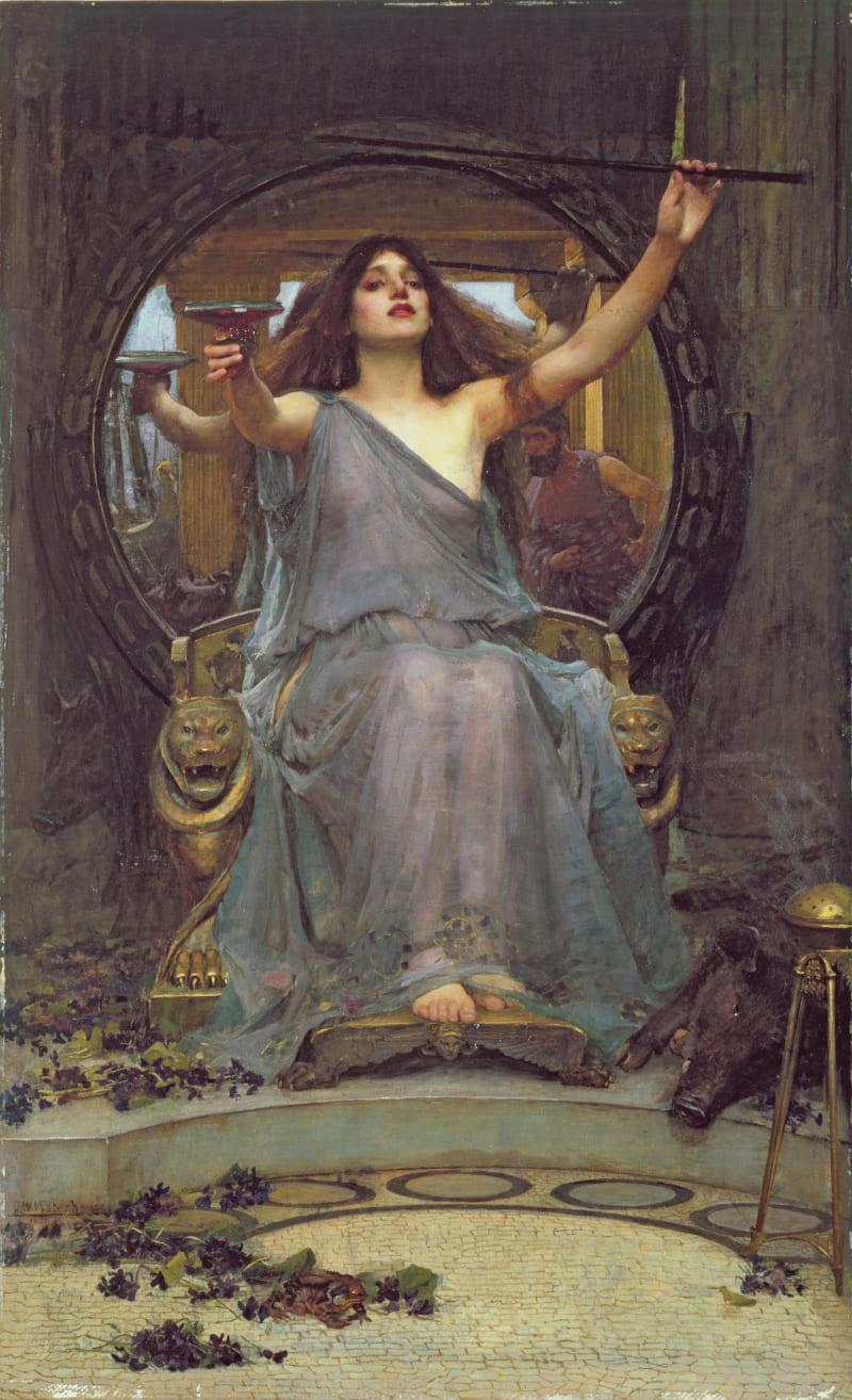 Джон Уильям Уотерхаус, «Цирцея подаёт бокал Одиссею», 1891 год. Местонахождение: Галерея Олдема, Олдем, Великобритания