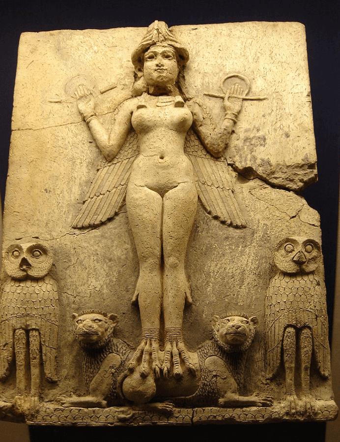 Древняя фреска, на которой предположительно богиня Иштар