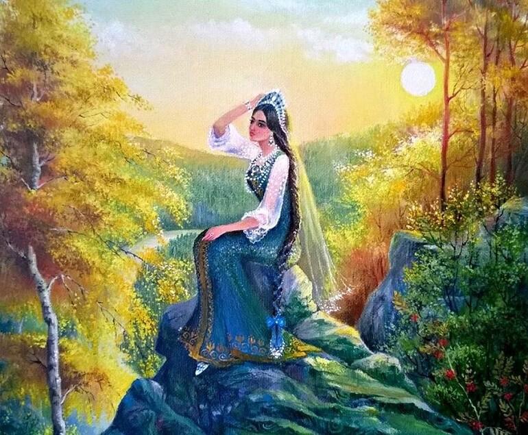 Хозяйку Медной горы описывали как темноволосую красавицу с длинной косой