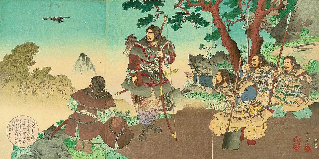 «Дзимму-тэнно тои сэйто». XXIV год Мэйдзи (1891). Цветная гравюра на дереве.Художник Гинко Адачи - рассказы из Нихон секи (Хроники Японии)