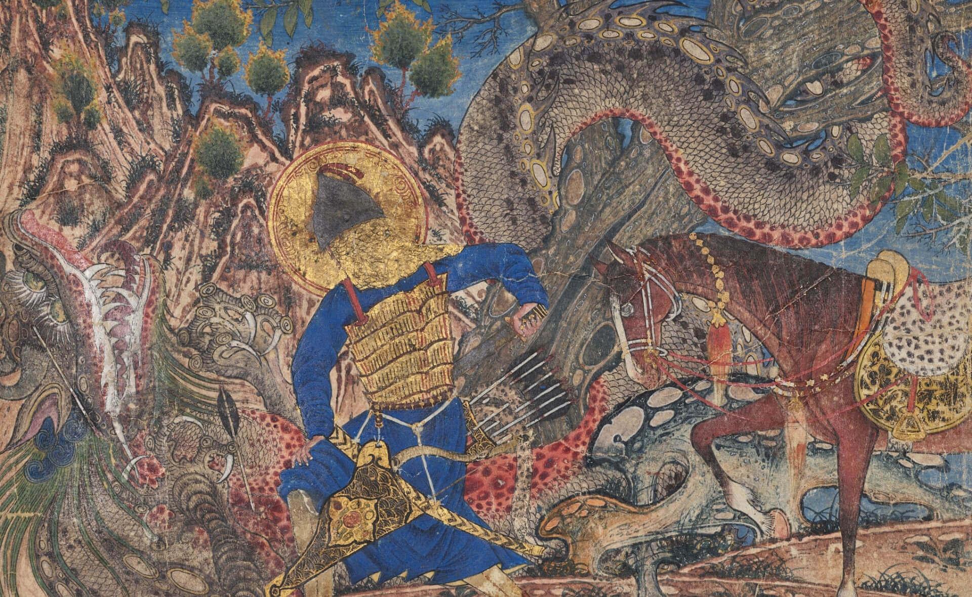 Бахрам Гур убивает дракона (verso) из Шахнамы (книги царей) Фирдауси (940-1019 или 1025), известной как Великая Монгольская Шахнама, любезно предоставленная Кливлендским Музеем искусств.