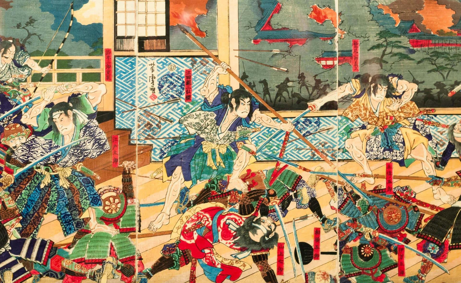 Битва самураев традиционный японский рисунок