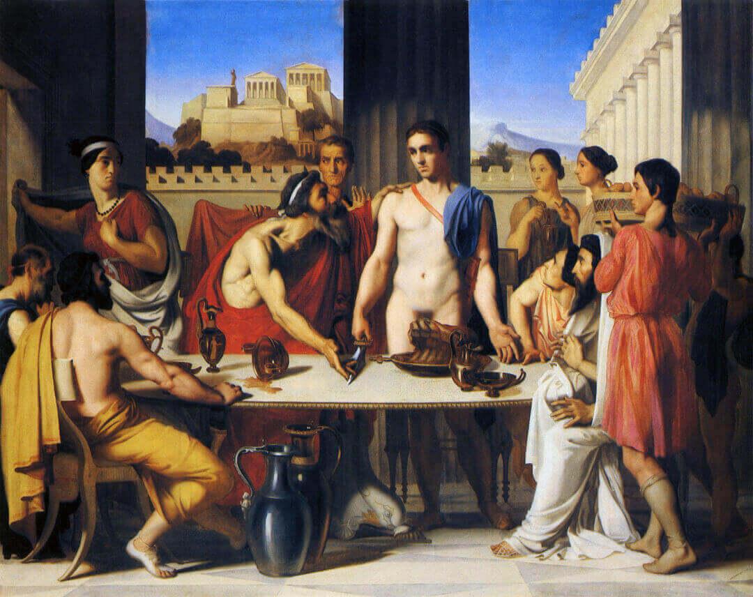 Эгей узнаёт в Тесее своего сына. Картина Ипполита Фландрена