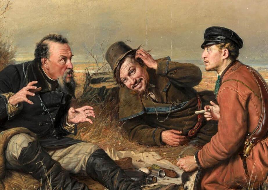 Фрагмент картины «Охотники на привале»