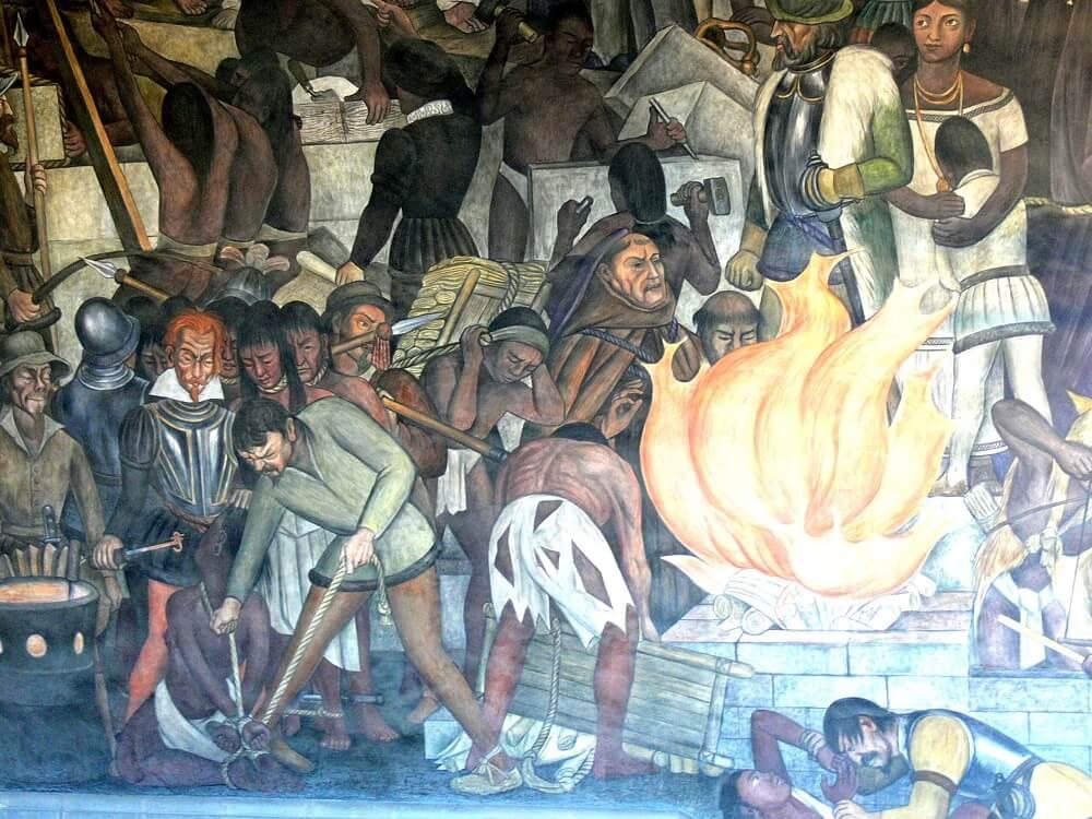 Мехико - Паласио Насьональ. Фреска Диего Риверы, показывающая историю Мексики сожжение литературы Майя католической церковью.