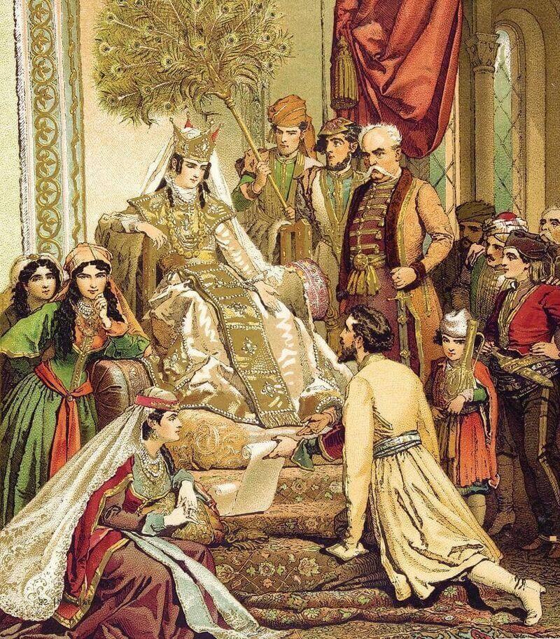 Михай Зичи «Шота Руставели преподносит свою поэму царице Тамаре» 1880 г.