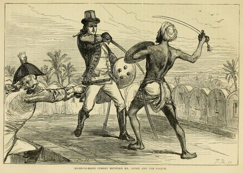 На этой картине изображена сцена боя между Гуджаром и британским солдатом. Речь идет о восстании Гуджара в 1824 году в округе Сахаранпур.