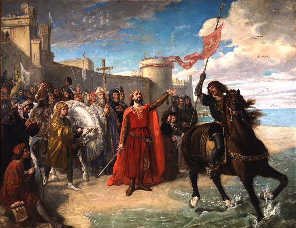 ороль Альфонсо X Кастильский (1220-1284), по прозвищу мудрец, завладев морскими водами после завоевания мусульманами города Кадис.Дворец Сената Испании Matías Moreno González