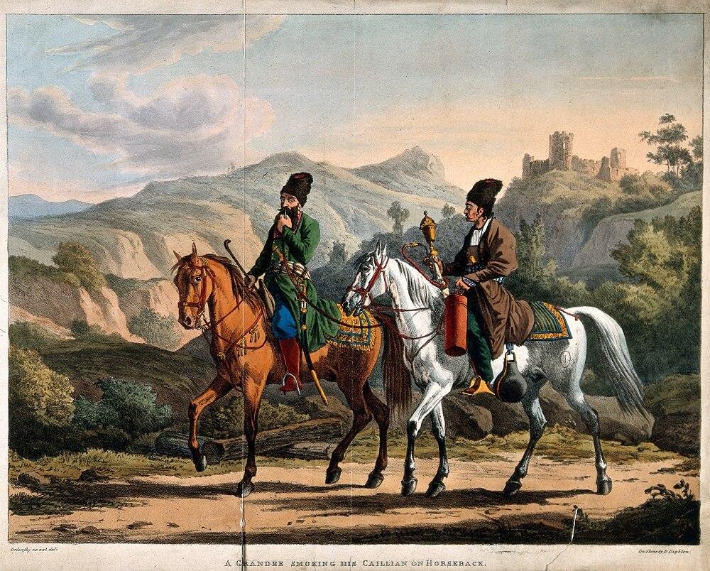 Персидский аристократ, ехавший верхом со своим слугой и куривший Гуку. Цветная литография Д. Дайтона, 1820 год,