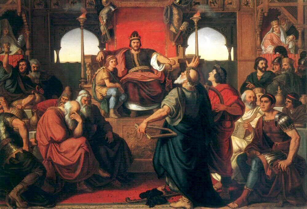 Пир Аттилы. Справа изображён византийский дипломат и историк Приск. Худ. Мор Тан (1870) по мемуарам Приска.Исторический паноптикум