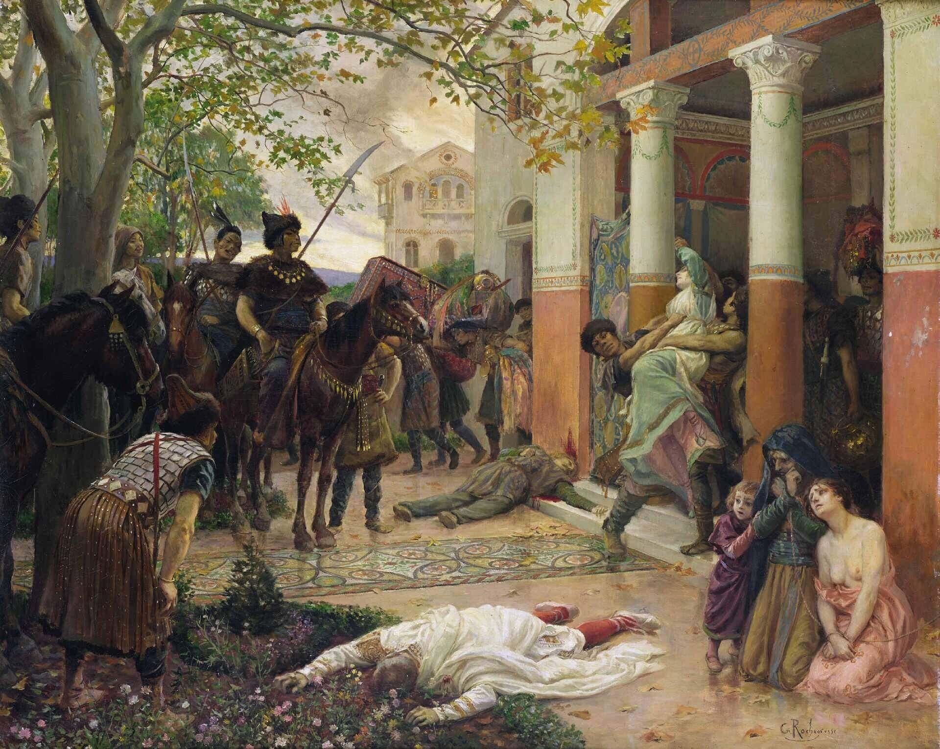 Римская вилла в Галлии разграблена ордами гуннов Аттилы Жорж Рошгросс