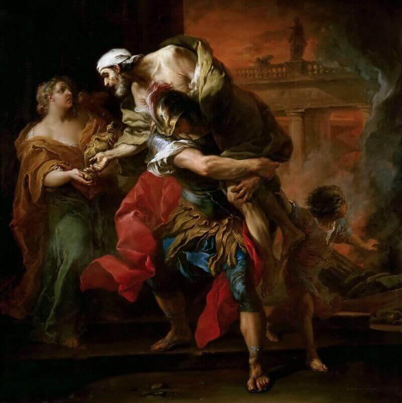 Шарль Андре Ван Лоо «Эней, выносящий своего отца из пылающей Трои»