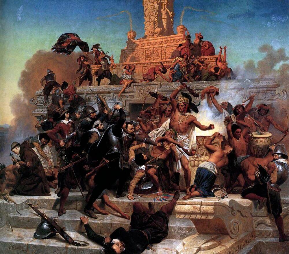 Штурм Теокалли Кортесом и его войсками испанское завоевание империи ацтеков в июне 1520 года Emanuel Gottlieb Leutze Wadsworth Atheneum