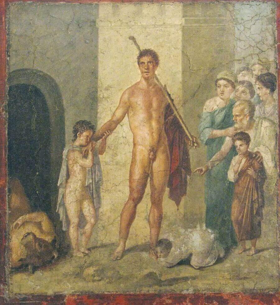 Тесей-освободитель. Фреска в Помпеях