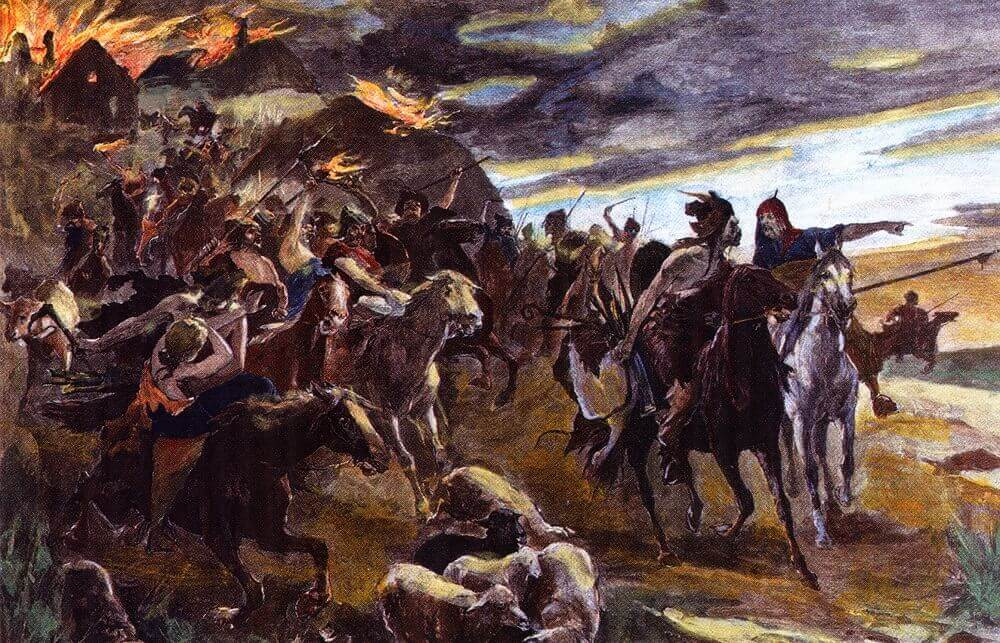 Воины-гунны. Цветная гравюра 1890 года.
