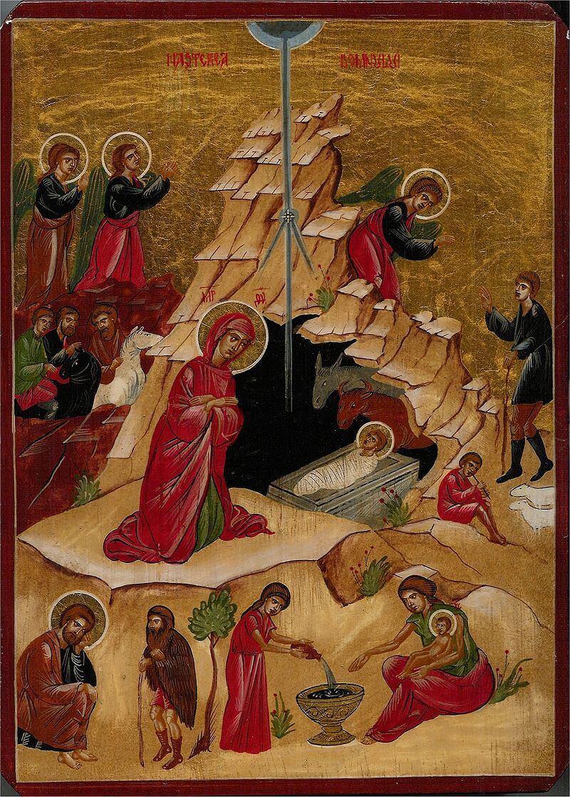 Богородица и Младенец Христос, лежащий в яслях в пещере