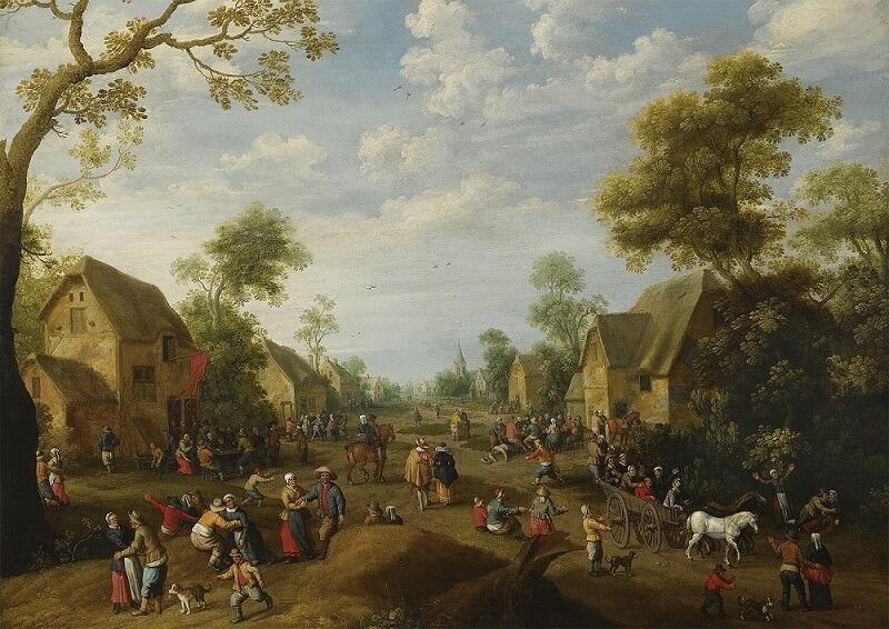 Деревня Кермесс с местными жителями (1628). Иост Корнелис Дрохслот
