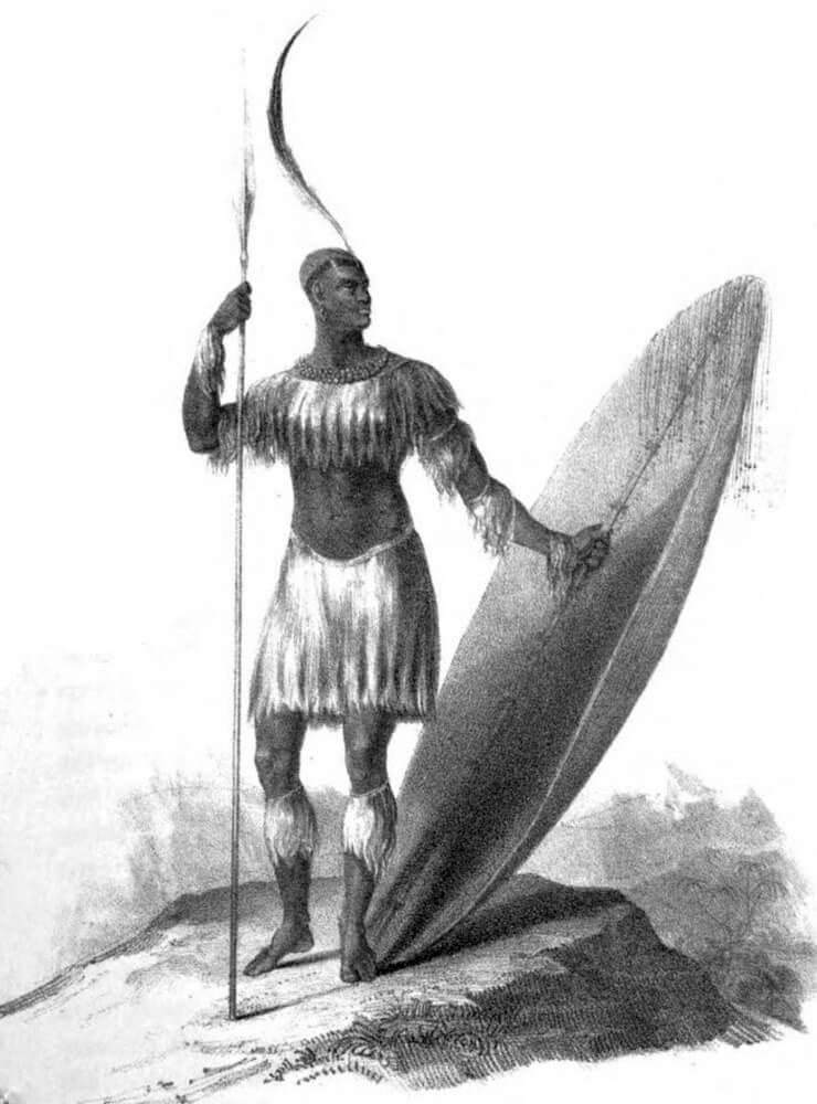 Единственный прижизненный известный рисунок Чаки, стоящего с длинным метательным дротиком и тяжёлым щитом в 1824 — за четыре года до смерти James King