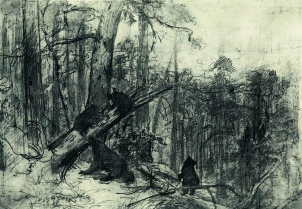 Эскиз картины «Утро в сосновом лесу»