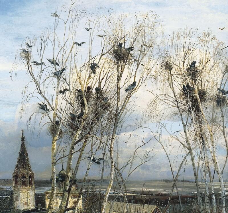 Фрагмент картины «Грачи прилетели»