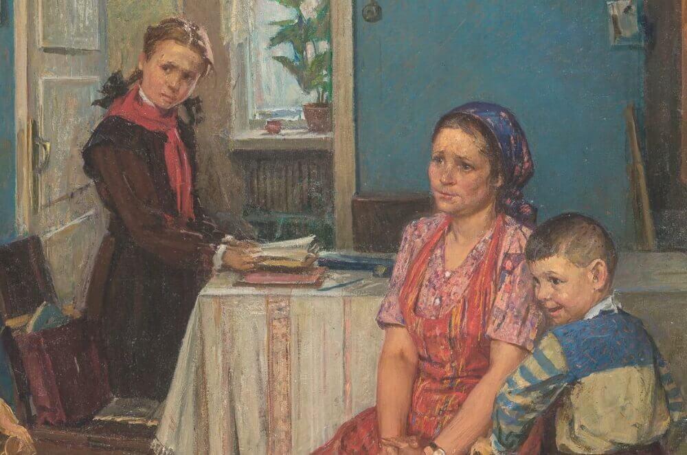Фрагмент картины Решетникова «Опять двойка»
