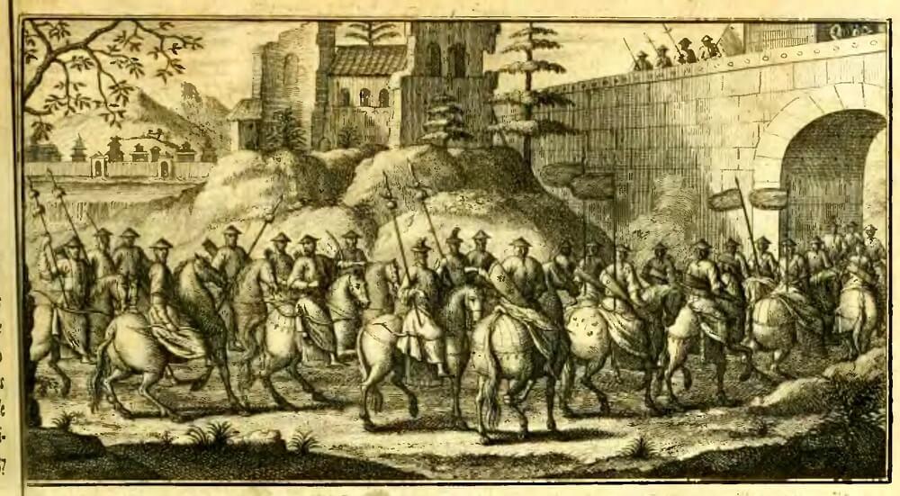 Гравюра из издания Ла Хэя описание Китая IV Крыло Татарской то есть Маньчжурской или монгольской конницы.