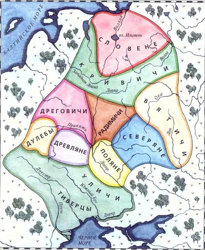 Карта славянских племён