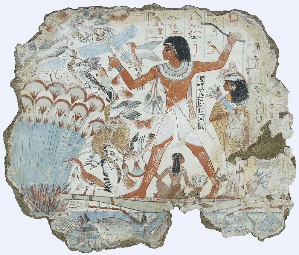 Охота в зарослях Папируса; фрагмент росписи в гробнице Nabamun в Фивах-Запад, сегодня в Британском музее, Династия, до 1350 г. до н. э.