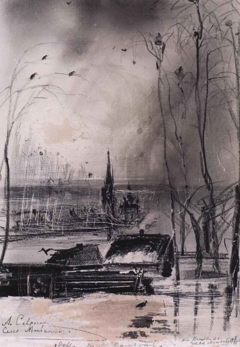 Пейзаж с церковью. Эскиз к картине «Грачи прилетели»