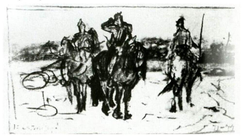 Первый набросок картины «Богатыри», 1871—1874 гг.