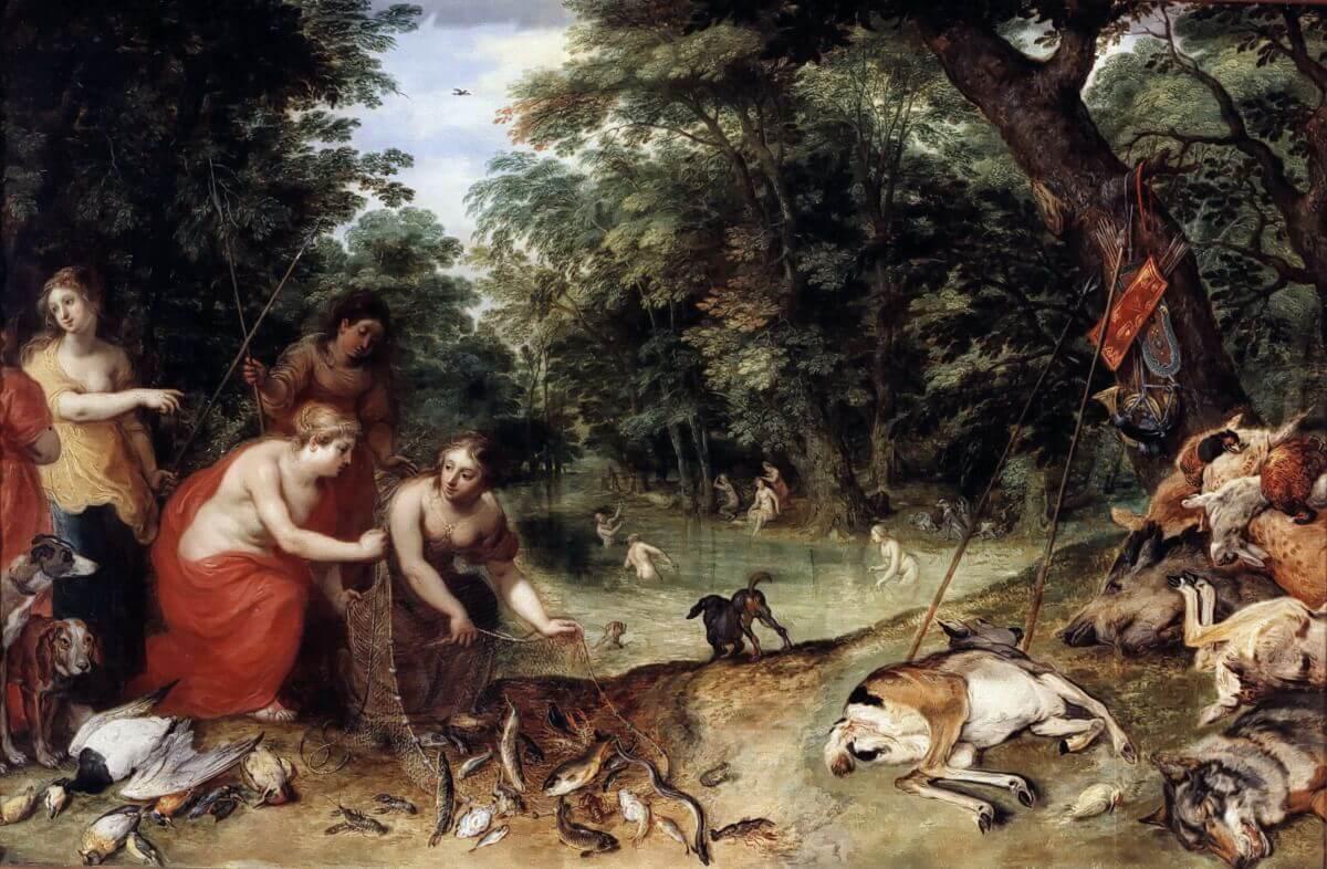 Ян Брейгель Старший – Нимфы Дианы после рыбалки и охоты